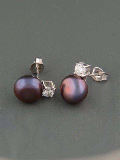 10mm dark Pearl stud Earrings with Zircon - Sterling Silver - Y506