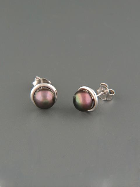 6mm dark Pearl stud Earrings- Sterling Silver - Y508