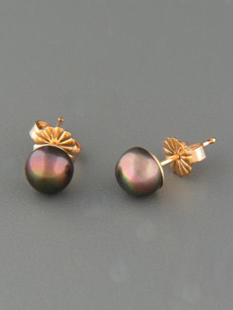 6mm dark Pearl stud Earrings - Gold - YD6ZG