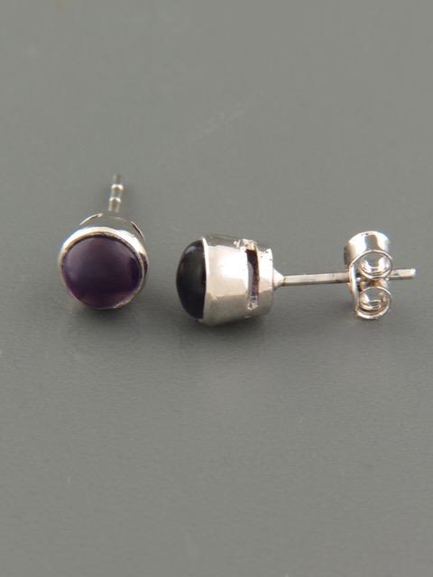 Amethyst Earrings - Sterling Silver stud - 6mm stones - A513