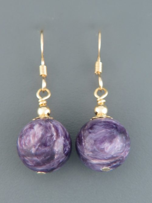 Charoite earrings - 14ct Gold Filled - 12mm stones - CH515G