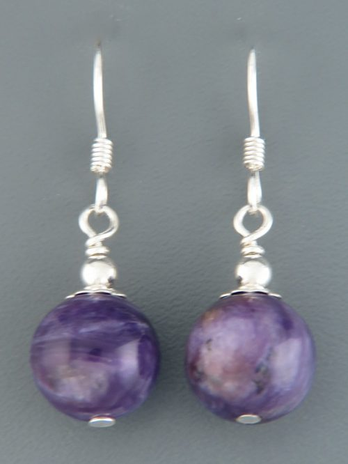 Charoite Earrings - Sterling Silver - 10mm stones - CH501