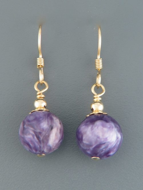 Charoite Earrings - 14ct Gold Filled - 10mm stones - CH501G