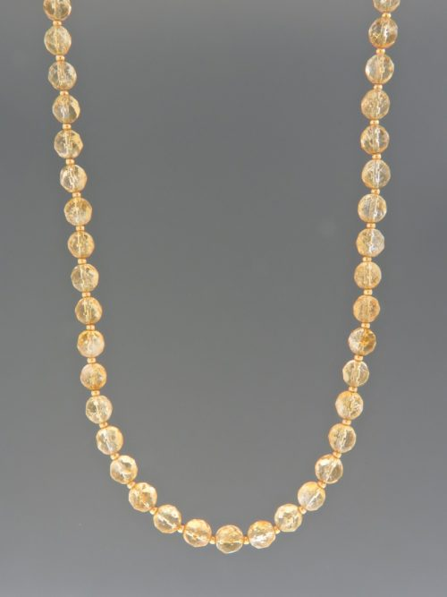 Citrine Necklace - 6mm round facets with 2mm round beads - C016