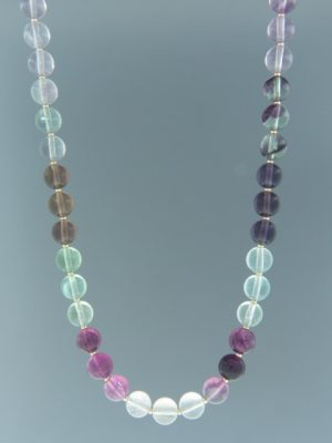 Fluorite Necklace - 8mm round with 2mm round beads - 45cm - F021