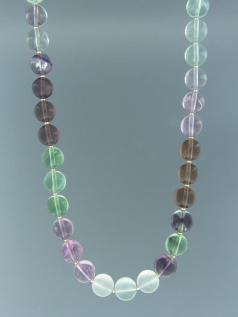 Fluorite Necklace - 10mm round with 2mm round beads - F017