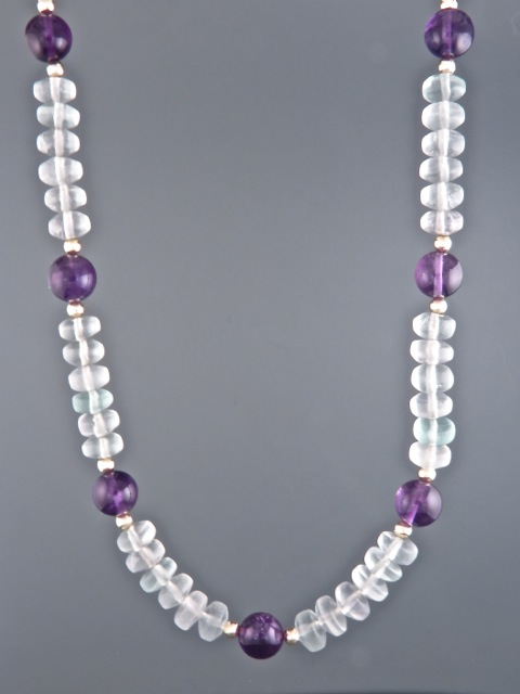 Fluorite Necklace with Amethyst - 7mm roundels - F009