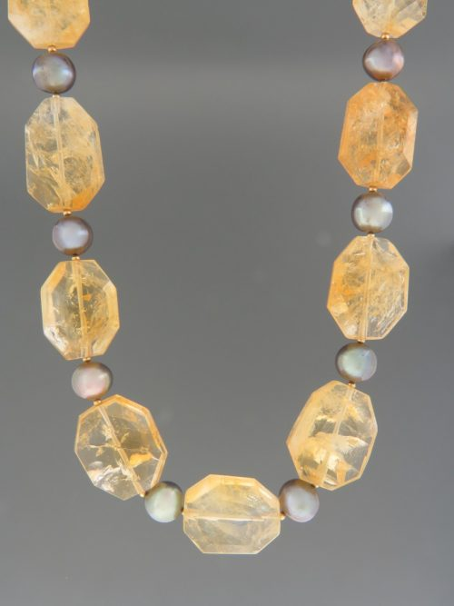 Citrine Necklace with Pearls - octagonal faceted stones - 50cm - C026