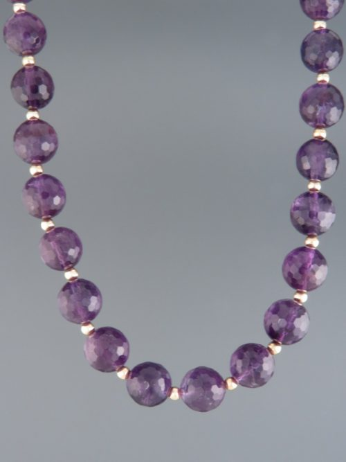 Amethyst Necklace - 10mm round facets - A108
