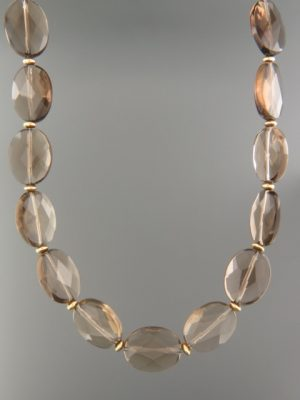 Smokey Quartz Necklace - oval facets with gold beads - SQ042