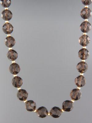 Smokey Quartz Necklace - 10mm round faceted stones - SQ023