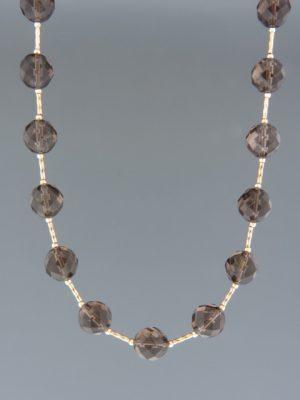 Smokey Quartz Necklace - 10mm round faceted stones - SQ030