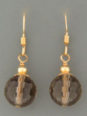 Smokey Quartz Earrings - 14ct Gold Filled - SQ501G