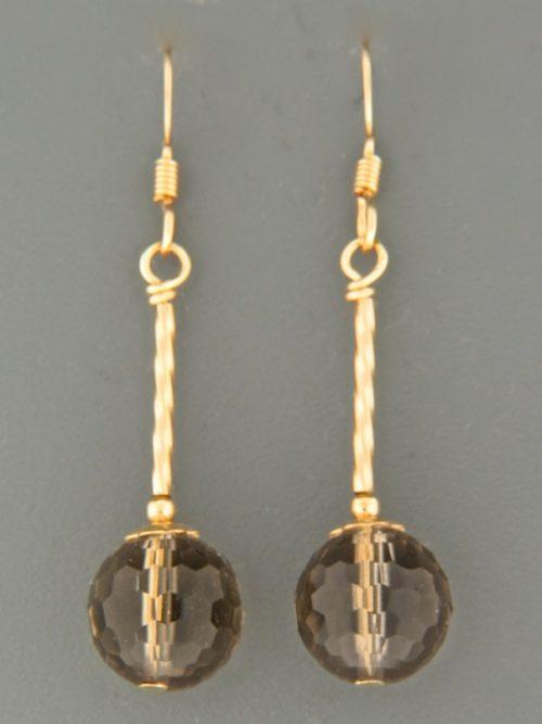 Smokey Quartz Earrings - 14ct Gold Filled - SQ502G
