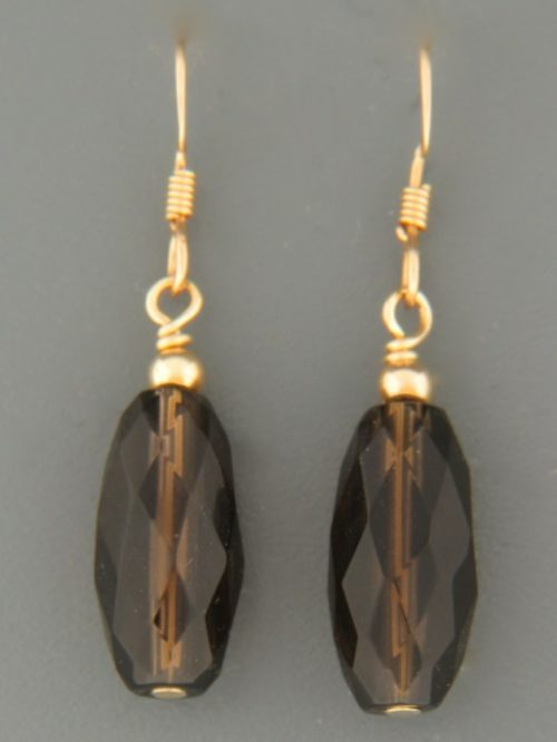 Smokey Quartz Earrings - 14ct Gold Filled - SQ522G