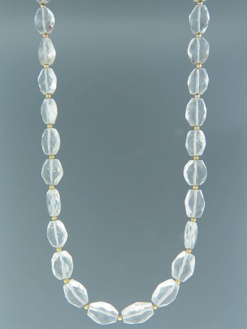 Quartz Crystal Necklace - oval faceted stones - 45cm - Q008