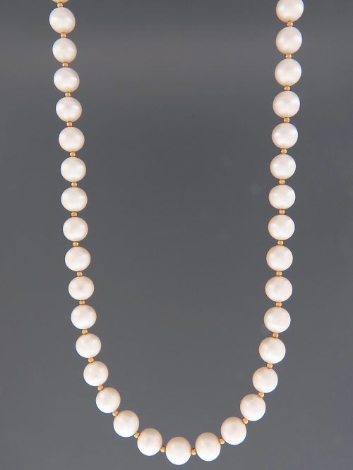 8mm Pearl Necklace with 2mm round beads - YW82N
