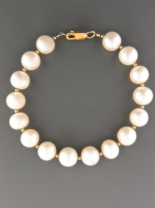 10mm white Pearl Bracelet with 2mm round beads - YW102B