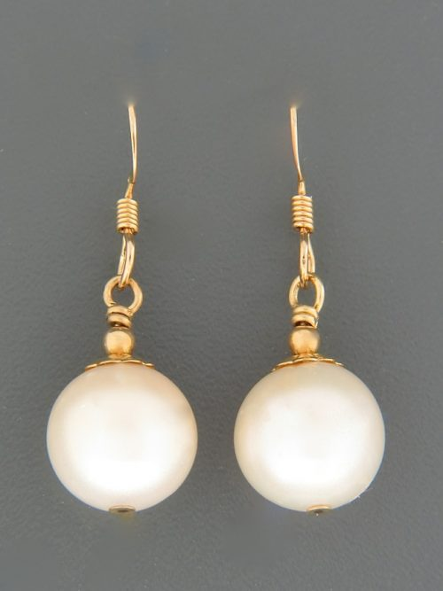 10mm White Pacific Pearl Earrings - 14ct Gold Filled - YW10G