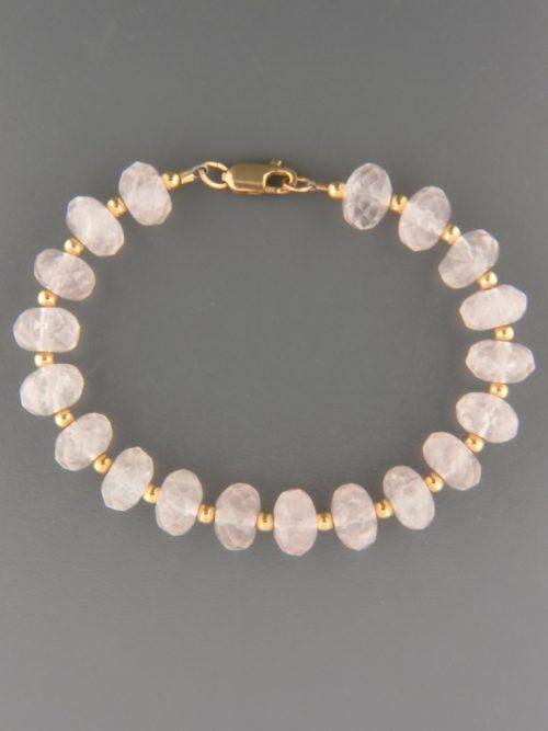 Rose Quartz Bracelet - faceted roundels with 3mm round beads - RQ907