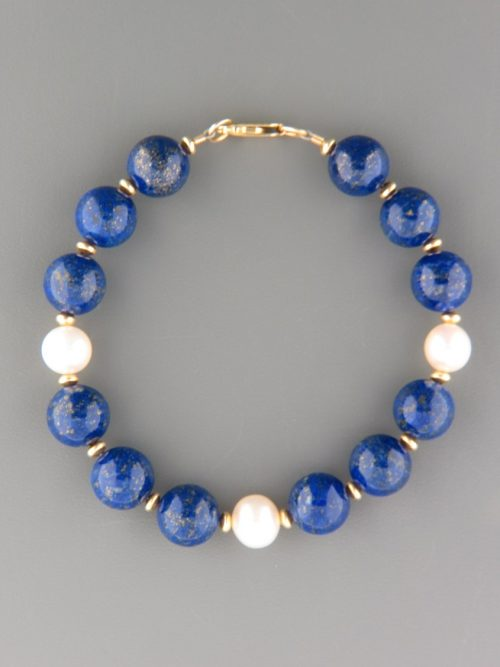 Lapis Lazuli Bracelet with Pearls - with gold beads - LL907