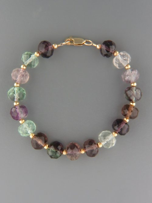 Fluorite Bracelet - faceted roundels with 3mm round beads - F902