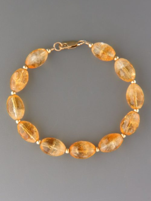 Citrine Bracelet - oval faceted stones with round beads - C905