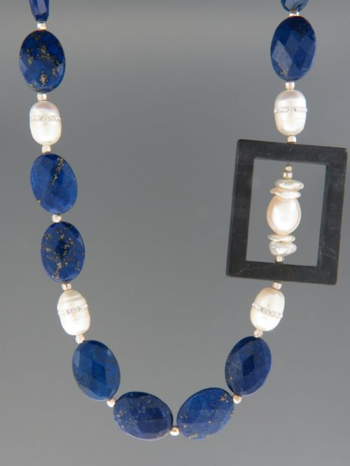 Lapis Lazuli Necklace with Pearls - oval faceted stones - 53cm - LL032