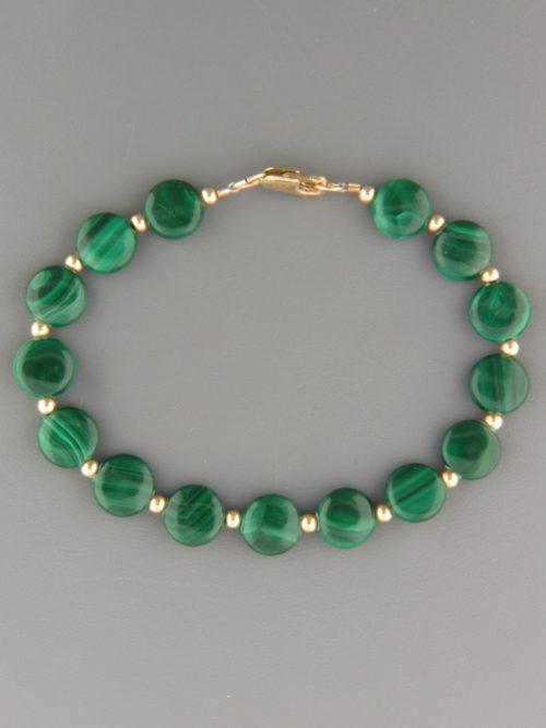 Malachite Bracelet - 10mm discs with 2mm round beads - M905