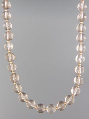 Smokey Quartz Necklace - 8mm round faceted stones - SQ044
