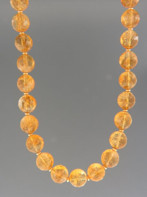 Citrine Necklace - 12mm round faceted with gold beads - C023