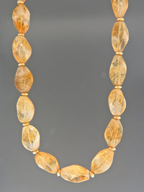 Citrine Necklace - twist facets with gold beads - C024