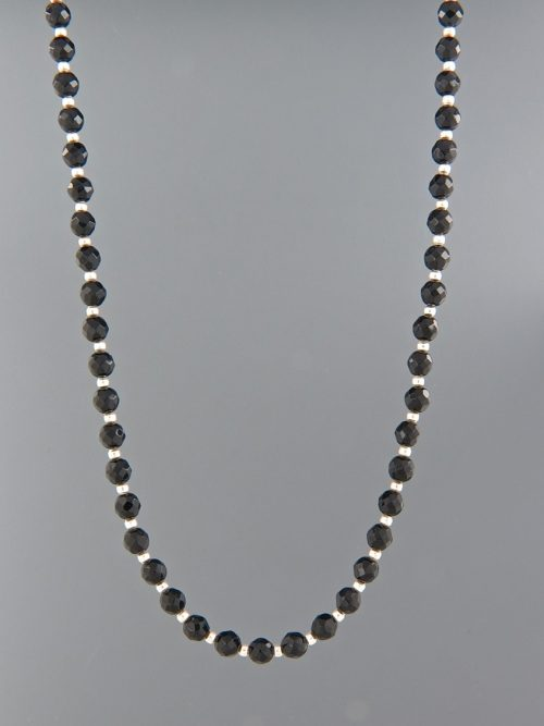 Onyx Necklace - 4mm round faceted stones with Silver beads - OX104