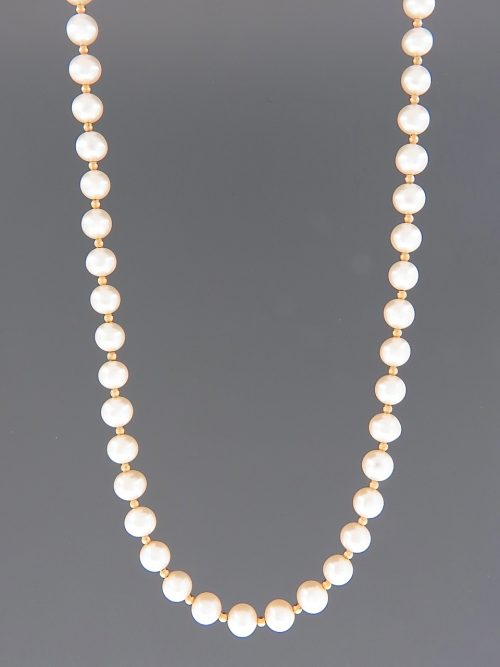 6mm Pearl Necklace with 2mm round beads - YW62N