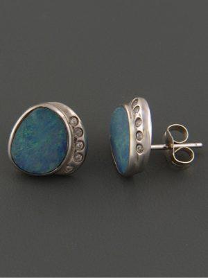 Opal Earrings - Sterling Silver stud - OP28D3