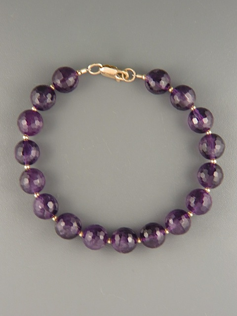 Amethyst Bracelet - 10mm round faceted stones - A941