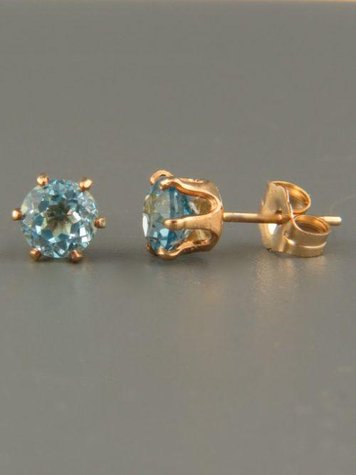 Blue Topaz Earrings - Gold stud - 5mm stones - BT505G