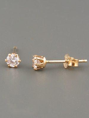 White Topaz Earrings - Gold stud - 3mm stones - WT503G