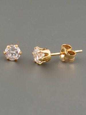 White Topaz Earrings - Gold stud - 4mm stones - WT504G