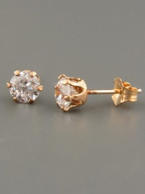 White Topaz Earrings - Gold stud - 5mm stones - WT505G