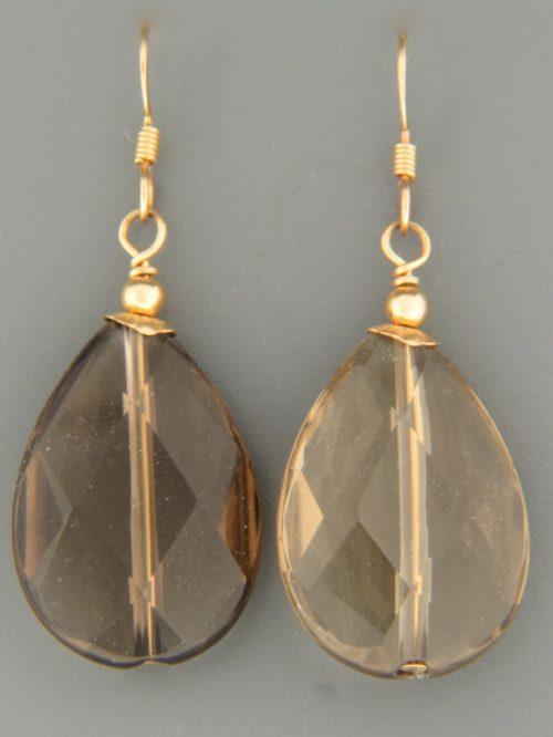Smokey Quartz Earrings - 14ct Gold Filled - SQ525G