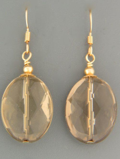 Smokey Quartz Earrings - 14ct Gold Filled - SQ524G
