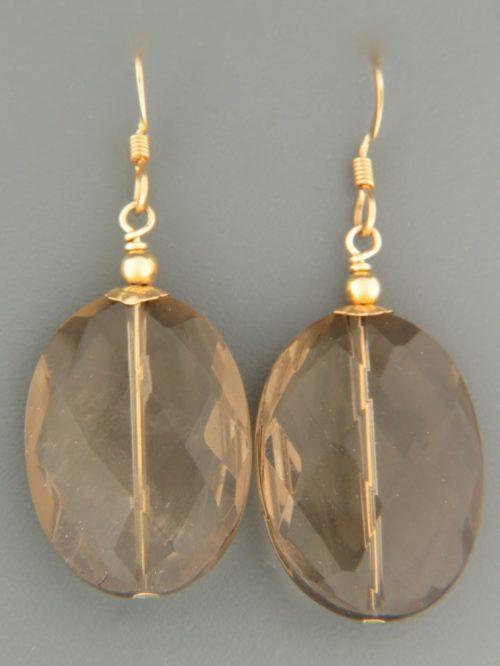 Smokey Quartz Earrings - 14ct Gold Filled - SQ521G