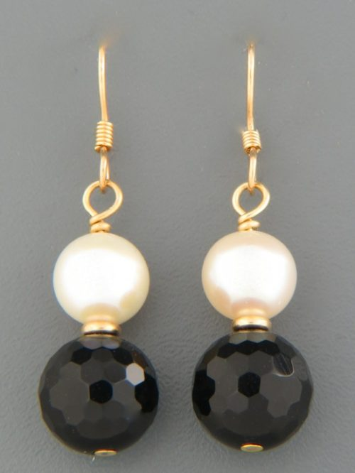 Onyx Earrings with Pearls - 14ct Gold Filled - OX506G