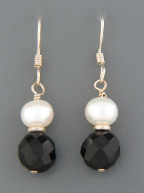 Onyx Earrings with Pearls - Sterling Silver - OX506