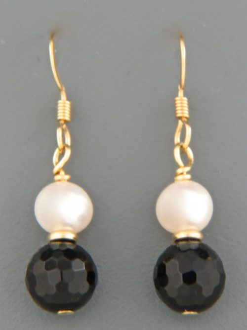 Onyx Earrings with Pearls - 14ct Gold Filled - OX504G