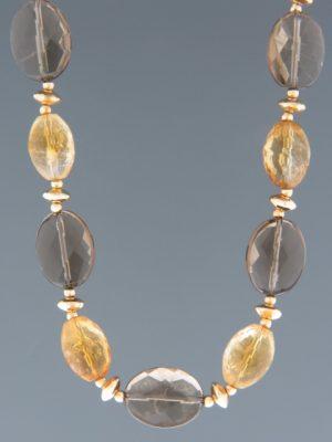 Smokey Quartz & Citrine Necklace - with gold beads - 53cm - SQ020