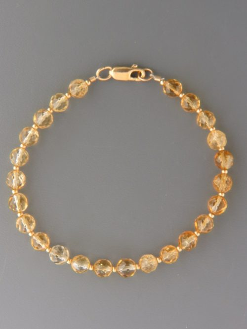 Citrine Bracelet - 6mm round faceted stones with round beads - C913
