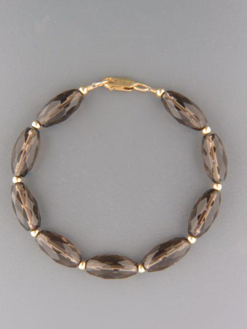Smokey Quartz Bracelet - tubular faceted stones - SQ917