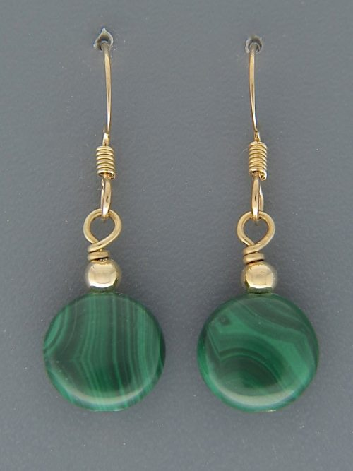 Malachite Earrings - 14ct Gold Filled - 10mm stones - M510G